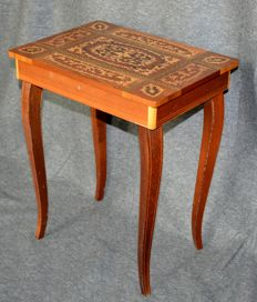 Italian music table with mechanical music box - mid 20th century - Italy