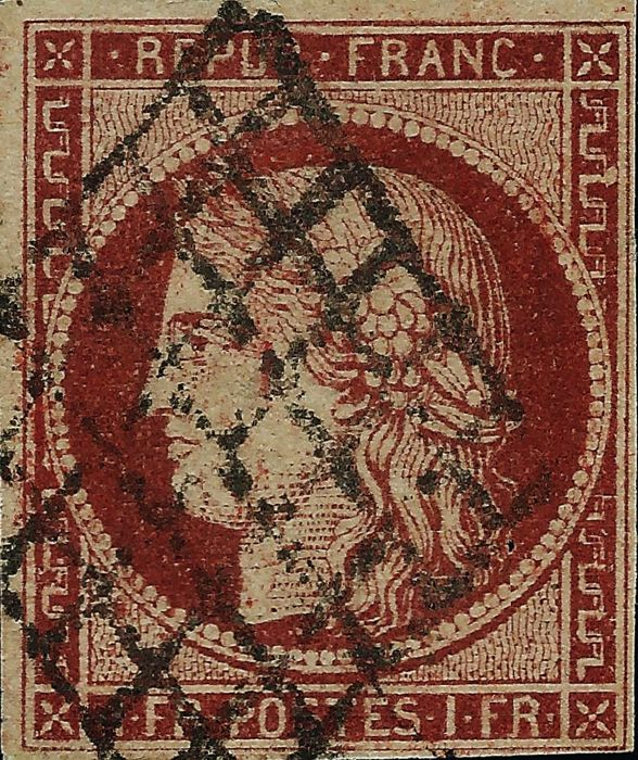 France 1850 - Ceres 1 franc brownish red cancelled by the grid - Yvert #6A