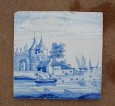 Antique tile with a landscape (Rare)