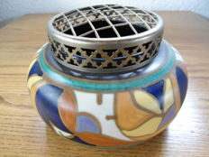 E.S.K.A.F. - flower- / rose vase with a brass openwork lid