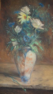 Jan Bleys ( 1868-1952) - Margrieten in vaas