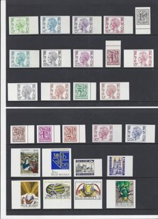 Belgium - Batch of imperforate stamps, official stamps and military stamps with number on the back.