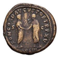 Roman Empire - Marcus Aurelius (161 - 180 A.D.), bronze sestertius (28,48 g. 30 mm), from Rome mint, 169-170 A.D. CONCORD. AVGVSTOR. TR. P. XV. COS. III. S. C. Scarce.