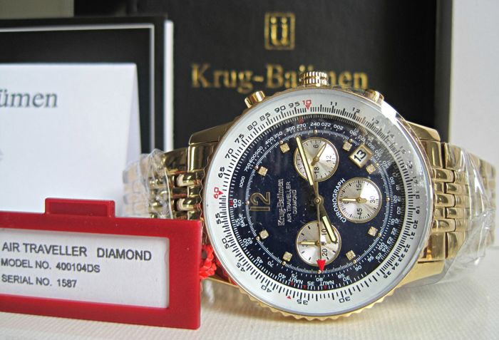 Krug-Baumen Air Traveller Diamond 400104DS Blue Dial -New