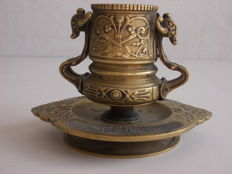 Antique full bronze censer with special animal-shaped handles with grape leaves and grapes, Italy, 1800s - 1900s