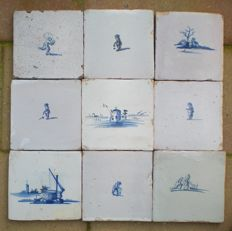 Lot with 9 tiles without corner display, Holland, ca. 1700