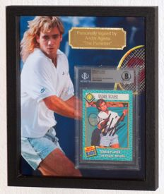 Andre Agassi original autographed Sports Illustrated tennis card - Deluxe Framed - Beckett Certified