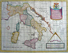 Italy; Edward Wells - A New Map of Present Italy - 1700