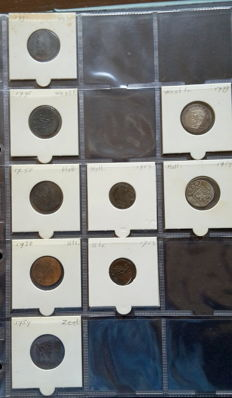 The Netherlands - Various provincial and VOC coins 1745-1791 (9) and coins 1897/1944 Wilhelmina (30) among which silver