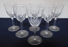6 Baccarat Crystal liquor glasses, model Epron, France, early 20th century