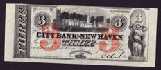 USA - Obsolete Currency - 3 dollars 1865 - City Bank of New Haven / 1 and 2 dollars 1857 Western Exchange - remainders