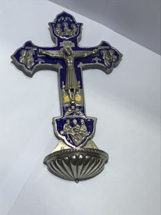Luis Valles - cross in silver and fire enamel - Spain - 21st century