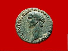 Roman Empire - Lovely Claudius I (41-54 A.D.) bronze as (12,29 g. 27 mm.), minted in Rome between 41-42 A.D. Minerva.