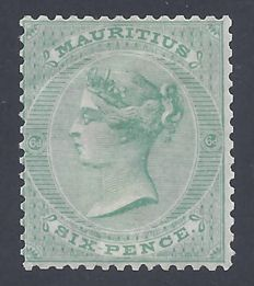 Mauritius 1863 - Queen Victoria 6d Yellow Green  - Stanley Gibbons 64