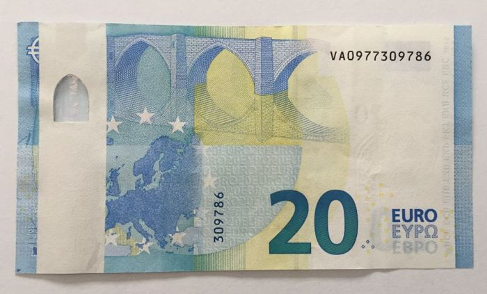 european union spain 20 euro 2015 draghi error note white strip without hologram. Black Bedroom Furniture Sets. Home Design Ideas