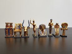 """Collection """"The Treasures of Egypt"""" 24 carat gold-plated porcelain - Franklin Mint"""