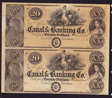 USA - Obsolete Currency - 2 x 20 dollars 1800's - New Orleans Canal & Banking Co.- Uncut Pair - remainders