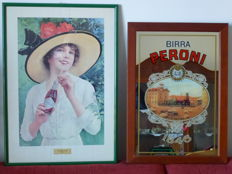 "Two large advertising signs, one with a mirror of ""BIRRA PERONI"" - An original COCA COLA poster in wooden frame with glass"