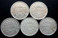 Portugal Republic - Mozambique - Five coins - 20 Escudos 1952(2), 1955(2) & 1960 - Silver