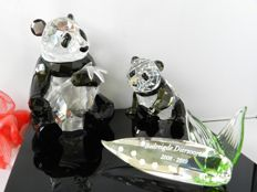 Swarovski - annual edition The Pandas - title plaque 'Endangered Species 2008-2009'