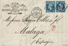 France 1862 - Empire perforated 20 centimes blue in tête-bêche pair on letter for Spain - Yvert n° 22b