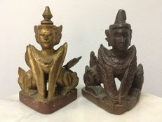 2 Wooden Keeling Angels(Nat). Mandalay period - Burma - 19th century.