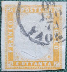 Sardinia, 1860 – 80 cents, light orange-yellow – Sass. No. 17b.