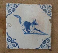 Antique tile with fox