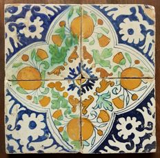 4 antique ceramic tiles with pomegranates