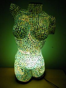 Lighting; Mosaic glass lamp in the form of an erotic woman's body - 21st century