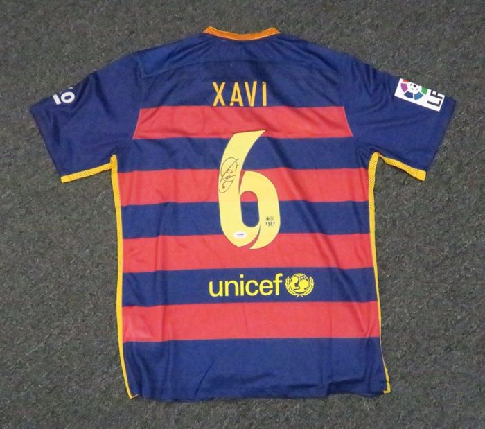 new product df79e f53ae Xavi Hernandez FC Barcelona Icon Autographed Red Soccer ...