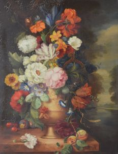 K Bartle. (19th/20th century) -  A still life of flowers.