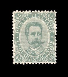 Kingdom of Italy, 1889 - 45 Cents - Olive Green - Sassone No. 46