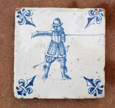 Antique tile with Spanish soldier Rare depiction !