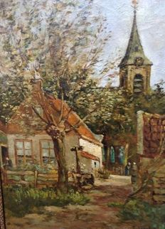 Pieter't Hout (1879-1965) - Street scene with church and tree