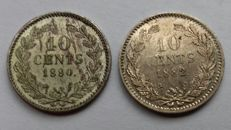 The Netherlands - 10 cent 1880 and 1882 Willem III - silver