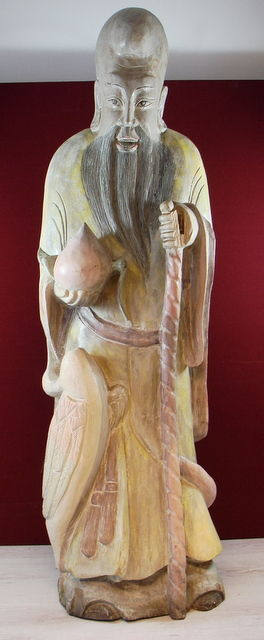 Solid wooden sculpture of a philosopher - China - second half of the 20th century (128 cm)