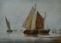J Van Os. (19th century) - Dutch barges in an estuary.