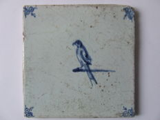Antique tile with a parrot on a nail