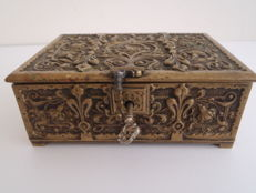 Decorated bronze cigar box with French Lily - France - ca. 1900