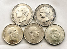 Spain - Centenary of the Peseta - Lot of 5 silver coins - 106.7 g - Madrid