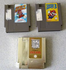 Lot of 3 Nintendo NES games - ZELDA - Super Mario Bros 2 - Super Mario Bros 3.