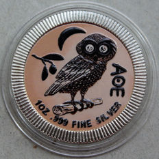 Niue - 2 Dollars 2017 'Owl of Athena' colorized - 1 oz silver