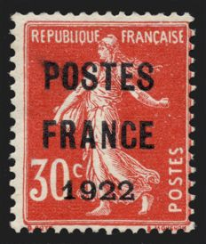 France 1922 - Precanceled 30c red overprinted PARIS FRANCE, signed ROUMET, BRUN and KREMER - Yvert no. 38