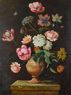 Roger John Collins (20th century) A still life of flowers.