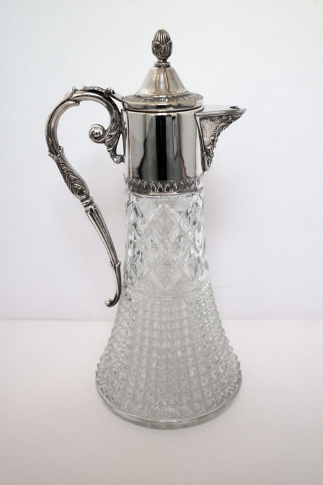 A glass and silver plated claret jug by William Padley & Son, Sheffield, late 19th/early 20th century