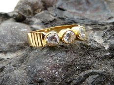 18 kt gold ring with zirconia - 17.9 mm