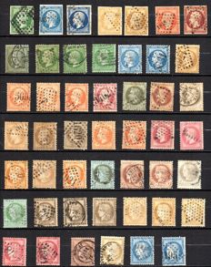France 1854/74 - Selection of classic stamps, Céres, Napoleon including colour varieties - Yvert no 4 and 60C.