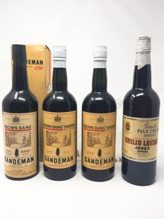 "Sherry lot: 3x NV Sandeman ""Brown Bang"" Rich Oloroso (2x bottled 1967, 1x bottled 1968) & 1 x NV Emilio Lustau Finest Pale Cream - total of 4 bottles"