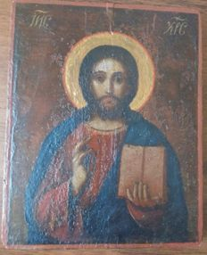 Russian icon (early 20th) -  The Christ Pantocrator